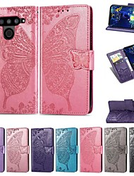 cheap -Case For LG LG V50 / LG V20 MINI / LG Stylo 4 Wallet / Card Holder / Shockproof Full Body Cases Solid Colored / Butterfly Hard PU Leather