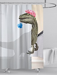 cheap -Shower Curtains Polyester with Hooks Dinosaur Pattern Waterproof 3D Print Bath Curtains Machine Manufacturing