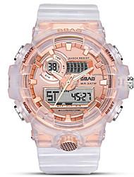 Недорогие -Муж. электронные часы Цифровой Стильные Нержавеющая сталь Белый 30 m Защита от влаги Календарь Секундомер Аналого-цифровые На каждый день Мода - Черный Розовое золото Белый / Два года