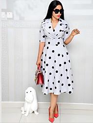 cheap -Women's Navy Blue Light Blue Dress Spring Bodycon Polka Dot V Neck Polka Dots Fashion with Belt M L Loose