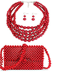 cheap -Women's Red Drop Earrings Necklace Earrings Beaded Rustic / Lodge Simple Luxury Classic Fashion Imitation Pearl Earrings Jewelry Red For Wedding Party Engagement Gift Street Three-piece Suit