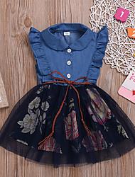 Недорогие -Дети Девочки Цветочный принт Платье Синий