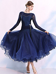 cheap -Ballroom Dance Dresses Women's Performance Spandex Split Joint / Crystals / Rhinestones Long Sleeve Dress