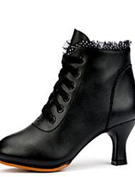 cheap -Women's Cowhide Dance Boots Boots / Heel Cuban Heel Black / Red