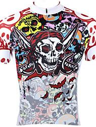 abordables -ILPALADINO Homme Manches Courtes Maillot Velo Cyclisme 100 % Polyester Rouge Crânes Cyclisme Maillot Hauts / Top VTT Vélo tout terrain Vélo Route Respirable Séchage rapide Résistant aux ultraviolets