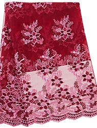 Недорогие -Африканское кружево Цветы С узором 130 cm ширина ткань для Особые случаи продано посредством 5Yard