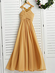 cheap -A-Line Halter Neck Floor Length Chiffon Junior Bridesmaid Dress with Appliques / Ruching / Wedding Party