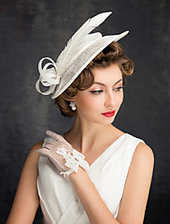 cheap -Feathers / Linen / Cotton Blend Fascinators / Flowers / Headdress with Feather / Floral 1 Party / Evening / Outdoor Headpiece