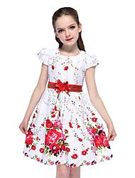 cheap -Kids Girls' Active Cute Floral Bow Short Sleeve Knee-length Dress White / Cotton