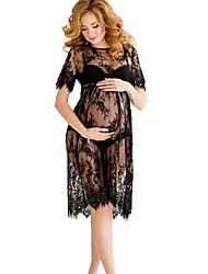cheap -Women's Knee-length Maternity White Black Dress Basic A Line Solid Colored Lace M