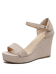 cheap -Women's Sandals Wedge Heel Round Toe PU / Synthetics Fall / Spring & Summer Black / Beige