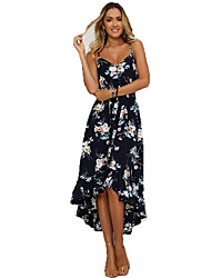 cheap -Women's 2020 Maxi Navy Blue Dress Basic Spring & Summer Trumpet / Mermaid Floral Strap Backless S M