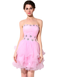 cheap -A-Line Strapless Short / Mini Tulle Elegant Cocktail Party Dress 2020 with Beading / Sequin / Ruched