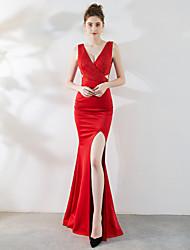 cheap -Mermaid / Trumpet Elegant & Luxurious Furcal Formal Evening Dress V Neck Sleeveless Floor Length Satin with Crystals 2021