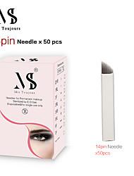 abordables -50pcs aiguilles de microblading manuelles lames de tatouage tebori 14pin pour maquillage permanent des sourcils