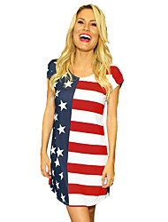 cheap -Adults' Women's Cosplay American Flag Dress Cosplay Costume For Halloween Daily Wear Spandex Polyster Independence Day Dress