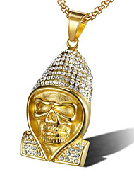 cheap -Men's Cubic Zirconia Pendant Necklace Classic Skull Fashion Titanium Steel Gold Silver 60 cm Necklace Jewelry 1pc For Gift Daily