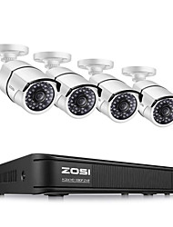 cheap -ZOSI 1080P Wired 8 Channel AHD/TVI/CVI/CVBS DVR Recorder 4 x 1080P TVI Cameras Home Weather Security System Supported No HDD