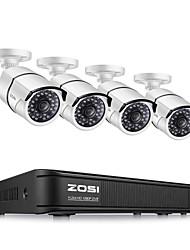 Недорогие -zosi 1080p проводной 8-канальный видеорегистратор ahd / tvi / cvi / cvbs dvr 4 x 1080p камеры tvi домашняя система безопасности погоды поддерживается без жесткого диска