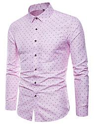cheap -Men's Polka Dot Graphic Print Shirt Punk & Gothic Street Club Classic Collar Blue / Blushing Pink / Long Sleeve