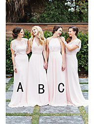 cheap -A-Line Halter Neck / Plunging Neck Floor Length Chiffon / Lace Bridesmaid Dress with Lace / Ruching