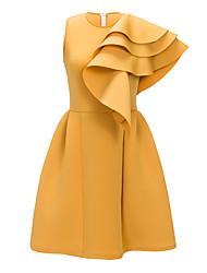 cheap -Women's Sophisticated Elegant A Line Sheath Dress - Solid Colored Ruffle Yellow L XL XXL