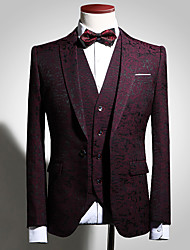 cheap -Tuxedos Slim Fit Notch Single Breasted One-button Embossed / Patterned / Printing