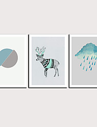 cheap -Print Rolled Canvas Prints - Abstract Cartoon Classic Modern Three Panels Art Prints