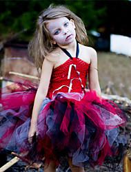 cheap -Kids Toddler Girls' Active Cute Black Patchwork Cartoon Backless Mesh Patchwork Sleeveless Knee-length Dress Rainbow