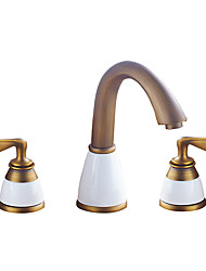 cheap -Bathroom Sink Faucet - Widespread Antique Copper / Gold Centerset Two Handles One HoleBath Taps