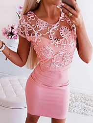 cheap -Women's Bodycon Dress - Solid Colored V Neck Blushing Pink S M L XL