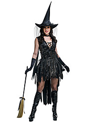 cheap -Witch Dress Cosplay Costume Gloves Hat Masquerade Adults' Women's Dresses Halloween Christmas Halloween Carnival Festival / Holiday Spandex Polyster Black Carnival Costumes Patchwork