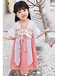 cheap -A-Line Knee Length Flower Girl Dress - Chiffon Short Sleeve Square Neck with Embroidery / Trim by LAN TING Express
