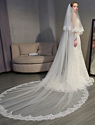cheap -Two-tier Elegant & Luxurious / European Style Wedding Veil Cathedral Veils with Appliques 118.11 in (300cm) Lace / Tulle / Oval