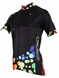 Недорогие -ILPALADINO Жен. С короткими рукавами Велокофты Полиэстер Черный Горошек Большие размеры Велоспорт Джерси Верхняя часть Горные велосипеды Шоссейные велосипеды / Дышащий / Быстровысыхающий / Эластичная