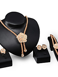 cheap -Women's Drop Earrings Chain Necklace Bracelet Cut Out Flower Precious Stylish Unique Design Gold Plated Imitation Diamond Earrings Jewelry Gold For Party Holiday 1 set / Ring