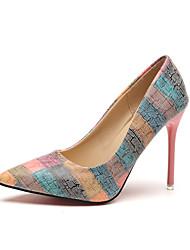 cheap -Women's Heels Stiletto Heel Pointed Toe PU Summer Orange / Blue / Party & Evening / Party & Evening