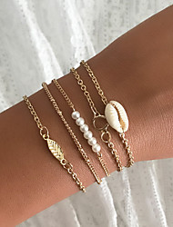 cheap -5pcs Women's Vintage Bracelet Earrings / Bracelet Layered Leaf Shell Simple Classic Vintage Ethnic Fashion Pearl Bracelet Jewelry Gold For Daily School Street Holiday Festival