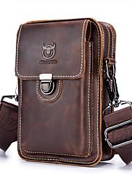 cheap -Men's Bags Cowhide Fanny Pack Shoulder Messenger Bag Zipper Solid Color Bum Bag Daily Outdoor Brown