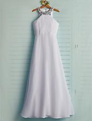 abordables -Trapèze Licou Maxi Mousseline de soie Robe de Demoiselle d'Honneur Junior  avec Billes / Ceinture / Ruban / Fête de Mariage