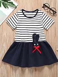 cheap -Kids Toddler Girls' Sweet Cute Striped Animal Patchwork Short Sleeve Above Knee Dress Black / Cotton