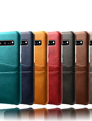 cheap -Case For Samsung Galaxy Galaxy S10 / Galaxy S10 Plus / Galaxy S10 E Card Holder / Dustproof / Water Resistant Back Cover Solid Colored Hard PU Leather / PC