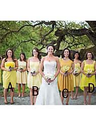 cheap -A-Line Jewel Neck / Spaghetti Strap Knee Length Chiffon Bridesmaid Dress with Ruching