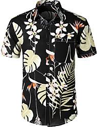 cheap -Men's Casual / Daily Festival Boho EU / US Size Cotton / Linen Shirt - Floral Black / Short Sleeve
