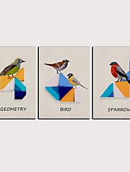 cheap -Print Rolled Canvas Prints - Abstract Birds Classic Modern Three Panels Art Prints