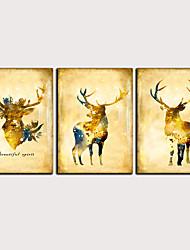 cheap -Print Rolled Canvas Prints - Abstract Animals Classic Modern Three Panels Art Prints