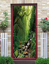 cheap -Beauty Dream Jungle fog Door Stickers Decorative Waterproof Door Decal Decor