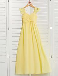 cheap -A-Line Square Neck Floor Length Chiffon Junior Bridesmaid Dress with Ruching / Ruffles