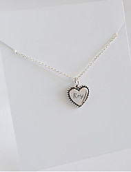 cheap -Personalized Customized Necklace Name Necklace S925 Sterling Silver Classic Name Engraved Gift Promise Festival Square Heart Shape 1pcs Silver / Laser Engraving