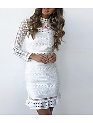 cheap -Women's Bodycon Short Mini Dress White Long Sleeve White Solid Colored Spring Summer Stand Collar Basic Cotton Lace S M L XL